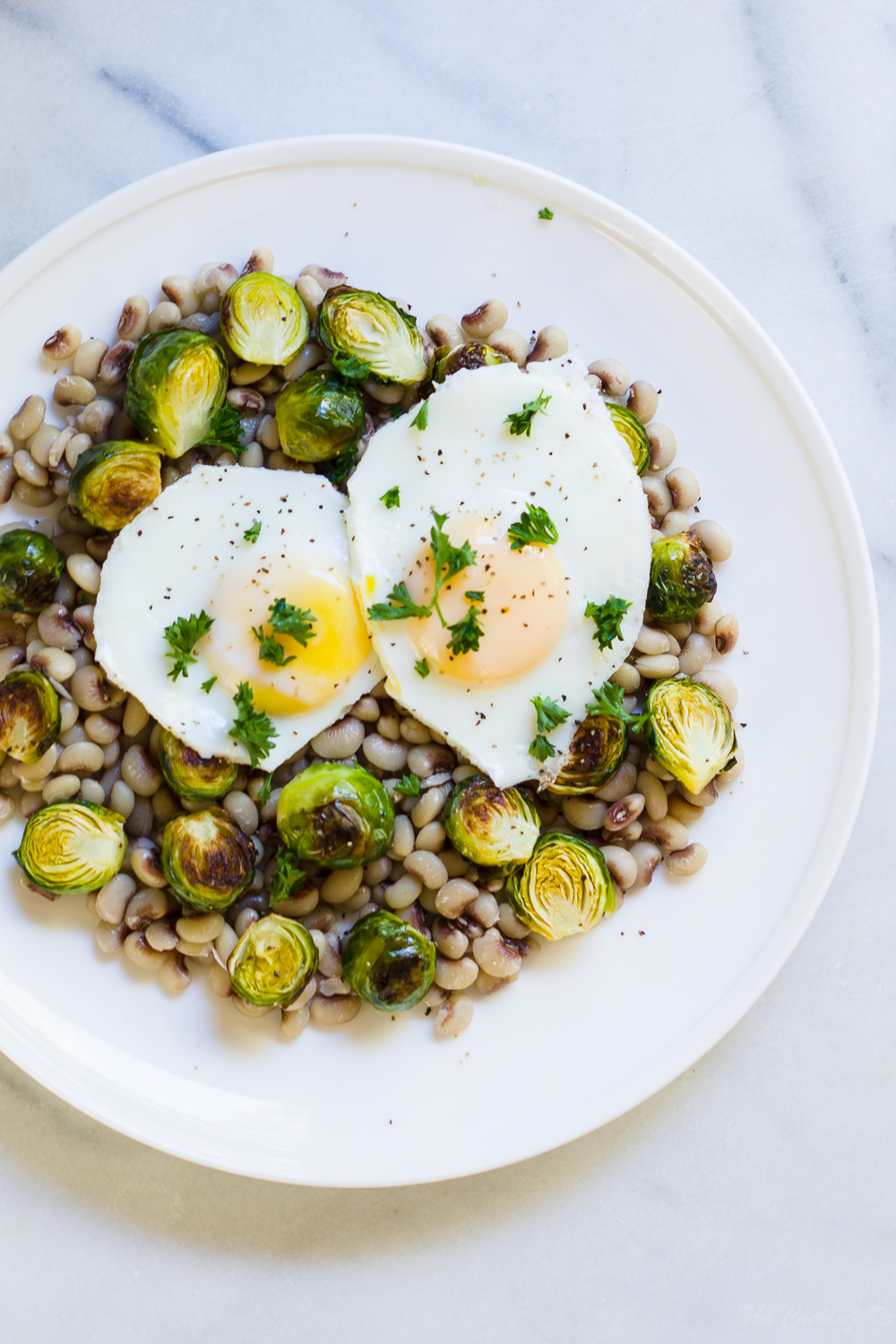 Black Eyed Peas with Brussels Sprouts and Egg